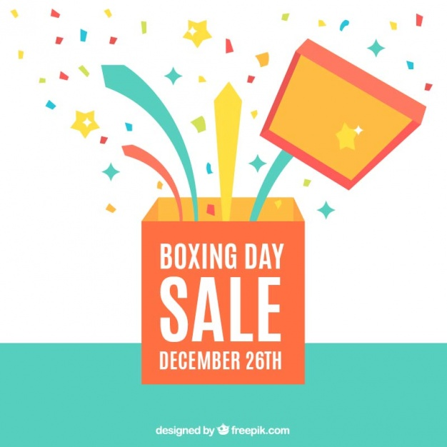 626x626 Boxing Day Background With Open Box And Confetti Vector Free
