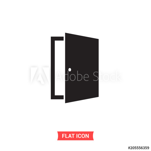 500x500 Open Door Vector Icon, Exit Symbol. Flat Sign Illustration For Web