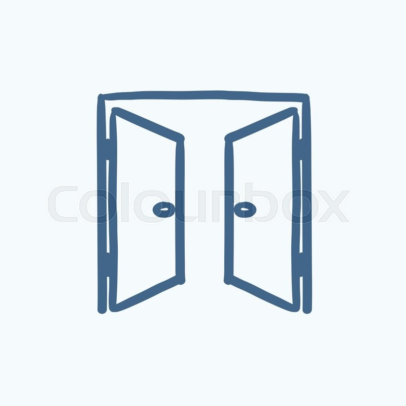 800x800 Open Doors Vector Sketch Icon Isolated On Background. Hand Drawn