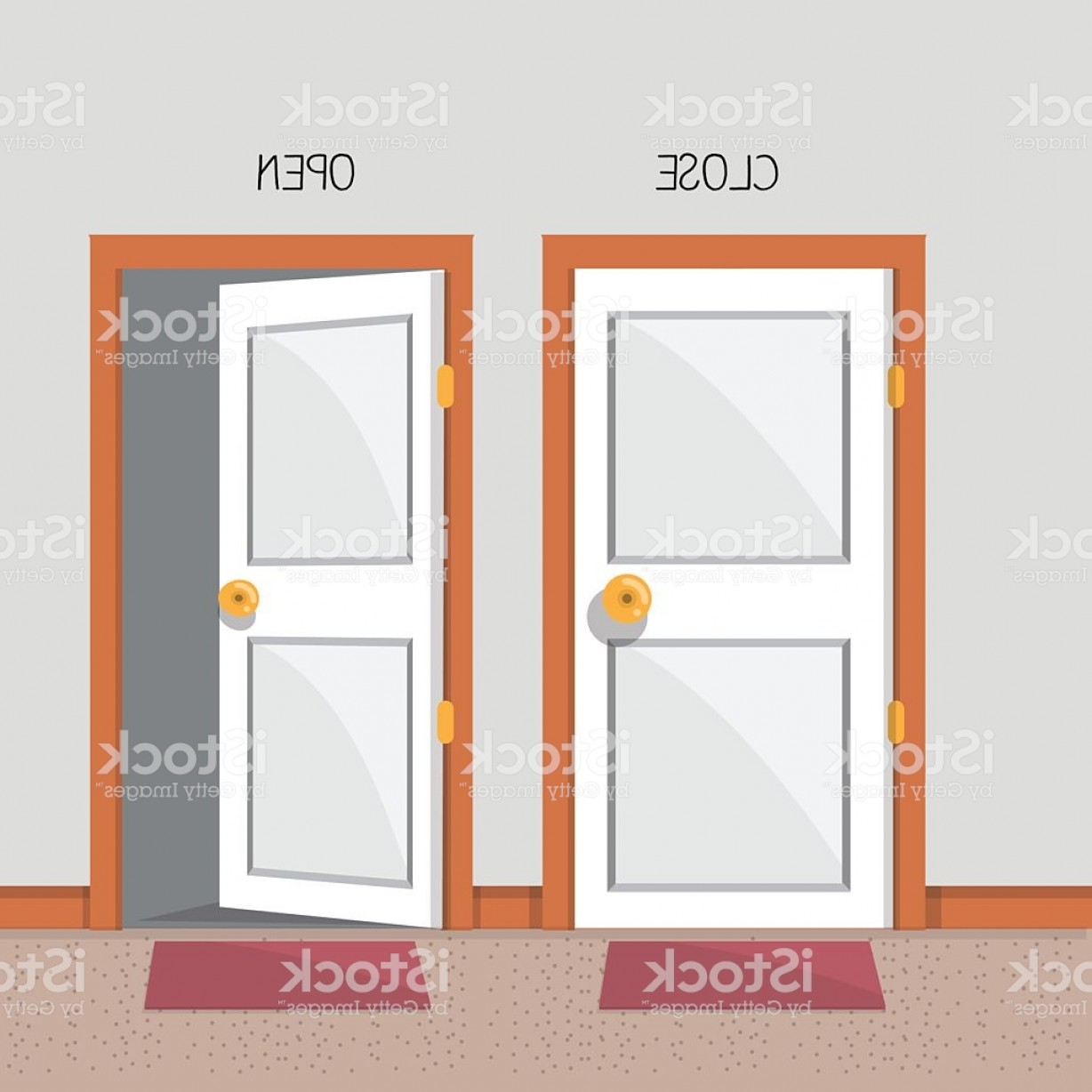1228x1228 Close And Open Door Vector Illustration Gm Arenawp