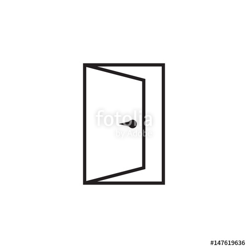 500x500 Door Vector Icon In Line Style. Exit Icon. Open Door Illustration