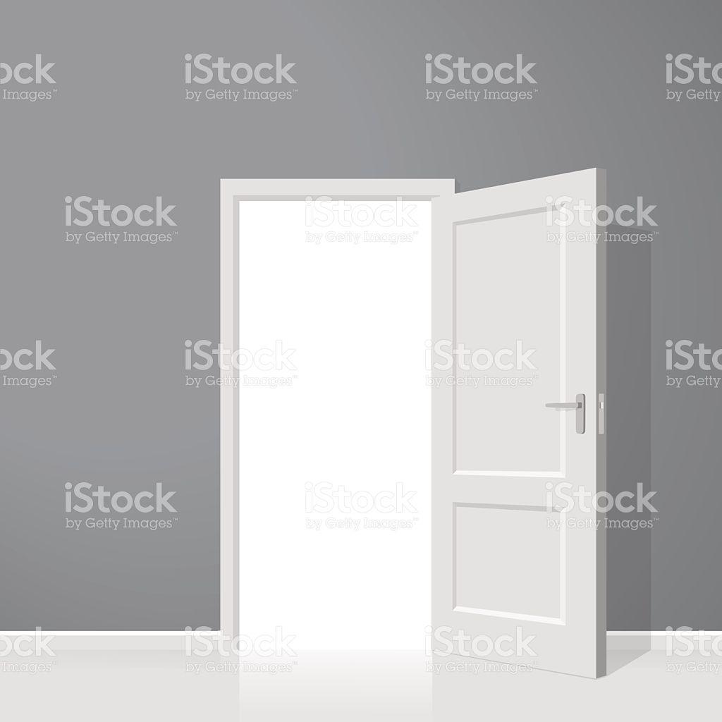 1024x1024 Open Door. Realistic Vector Illustration. Wooden Door