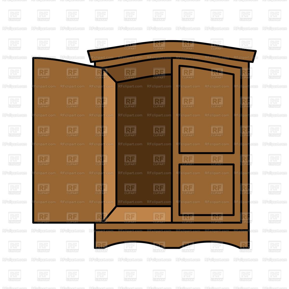 1200x1200 Wooden Wardrobe With Open Door Vector Image Vector Artwork Of