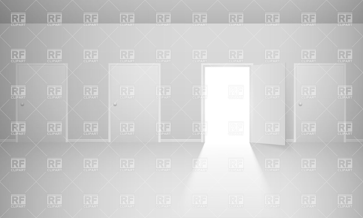 1200x720 Abstract Room With Closed Doors And One Open Door Vector Image