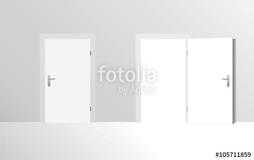 500x315 Closed Door And Open Door. Vector Illustration. Stock Image And