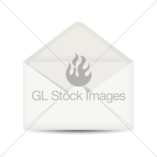 500x500 Isolated White Open Envelope. Vector Illustration. Gl Stock Images