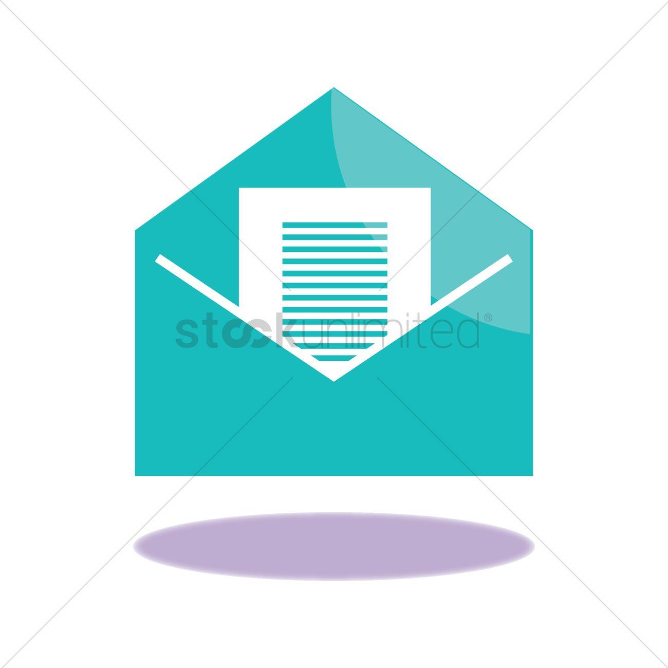 1300x1300 Open Envelope Vector Image