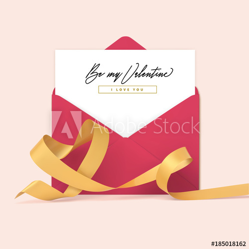 500x500 Valentines Day Beautiful Design With Ribbon Heart Shape And Open