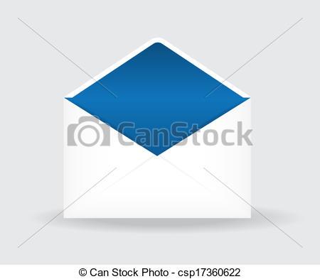 450x393 Vector Illustration Of Open Postal Envelope On Gray Background.