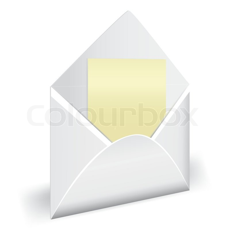 800x800 White Opened Envelope Vector. 3d Letter Icon. Email, Mail, Web