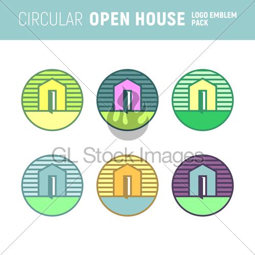 500x500 Circular Open House Logo Emblem Vector Graphic Gl Stock Images