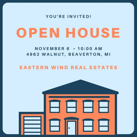530x530 Orange And Blue Vector Open House Invitation