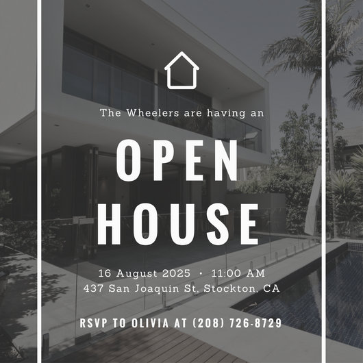 530x530 Simple Photo Vector Open House Invitation