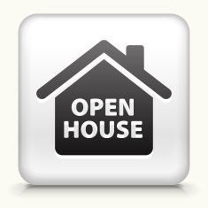 235x235 Square Button With Open House Royalty Free Vector Art Vector Art