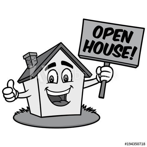 500x500 Open House Cartoon Illustration