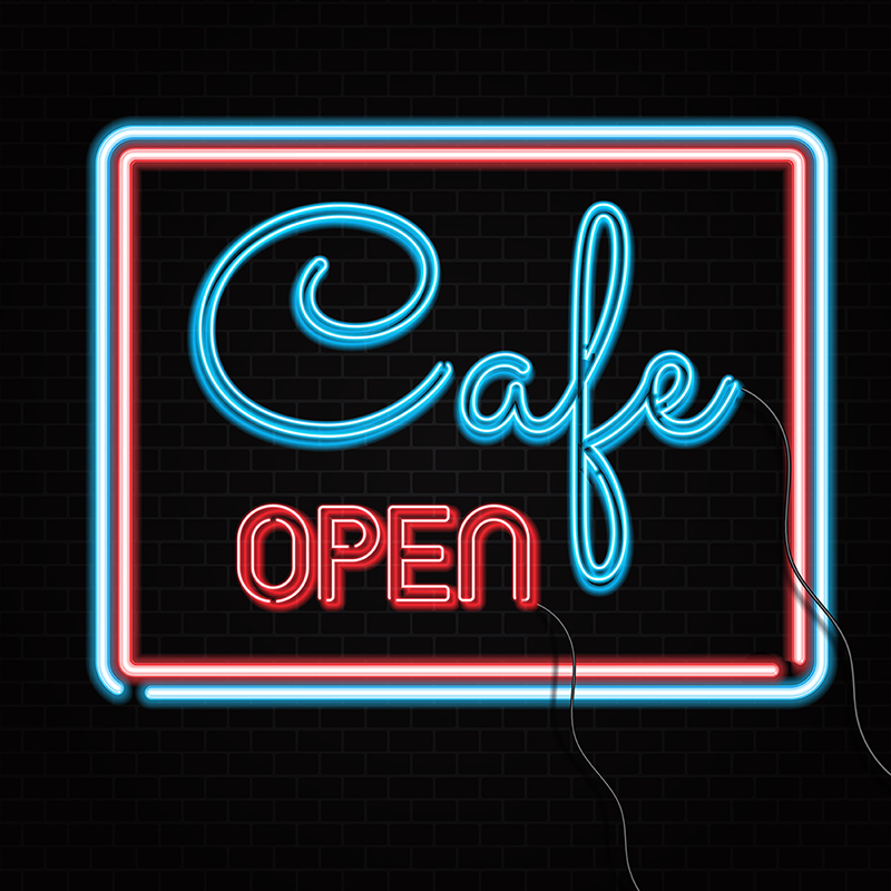 800x800 Neon Cafe Open Sign On Brick Wall 2502, Neon, Sign, Open Png And