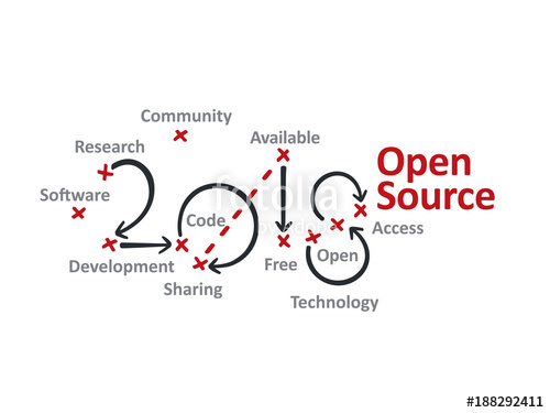 500x375 Open Source 2018 Red Marks White Background Vector Stock Image