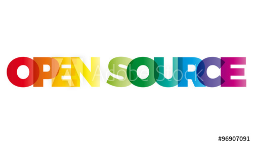 500x286 The Word Open Source. Vector Banner With The Text Colored Rainbo
