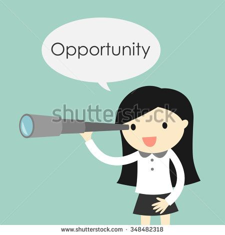 450x470 Business Concept, Business Woman Using Her Telescope Looking For