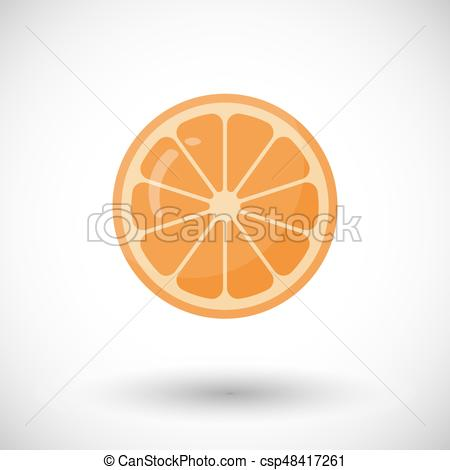 450x470 Orange Fruit Vector Flat Icon, Flat Design Of Food Or... Clip Art