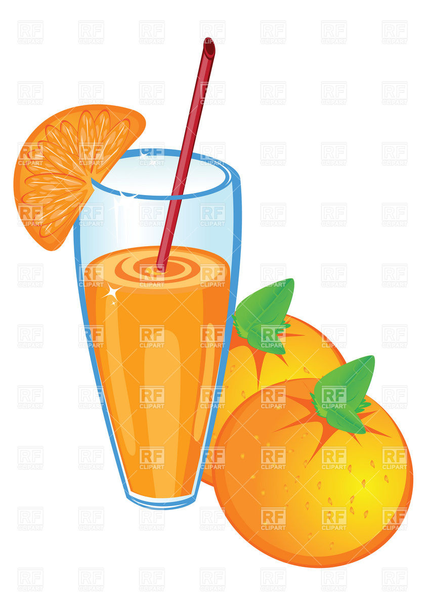 848x1200 Glass Of Orange Juice And Fruit Vector Image Vector Artwork Of