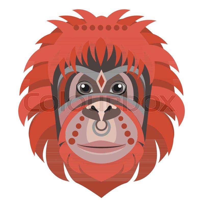 800x800 Orangutan Head Logo. Monkey Vector Decorative Emblem Illustration