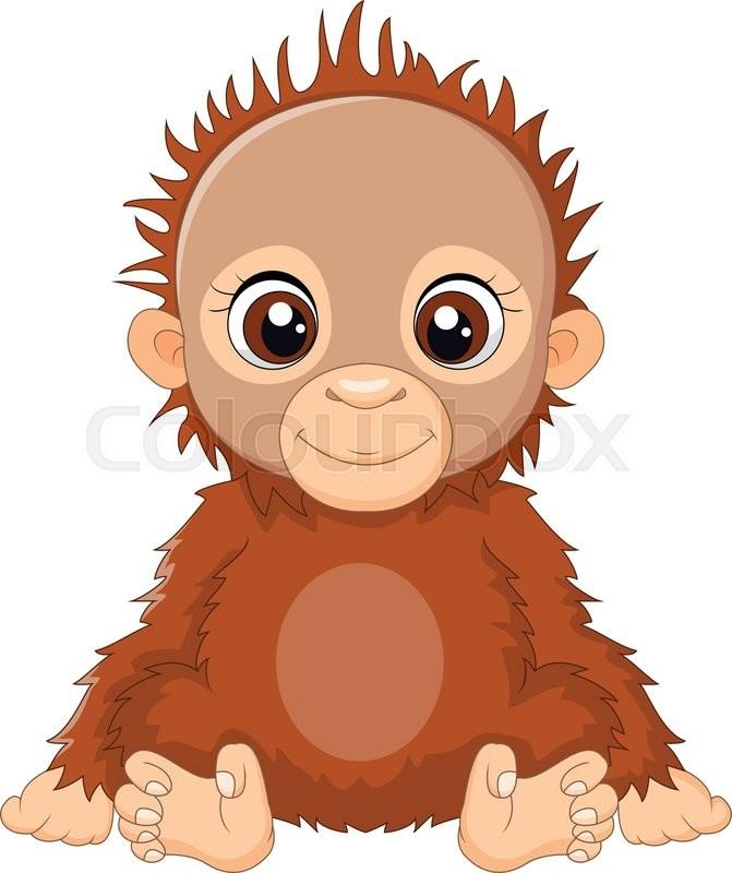 671x800 Vector Illustration Of Cartoon Baby Orangutan Sitting Stock