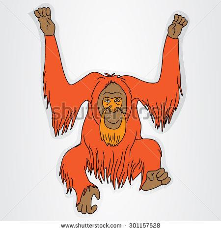 450x470 Cartoon Orangutan Group With Items