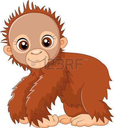 400x450 Clipart Baby Orangutan Vector Illustration Of Cartoon Sitting
