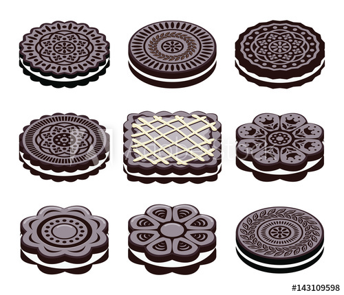 500x430 Vector Icons Of Oreo Cookie Set