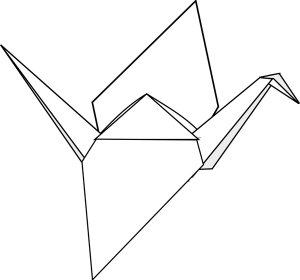 600x560 Origami Crane Free Vector In Open Office Drawing Svg ( .svg