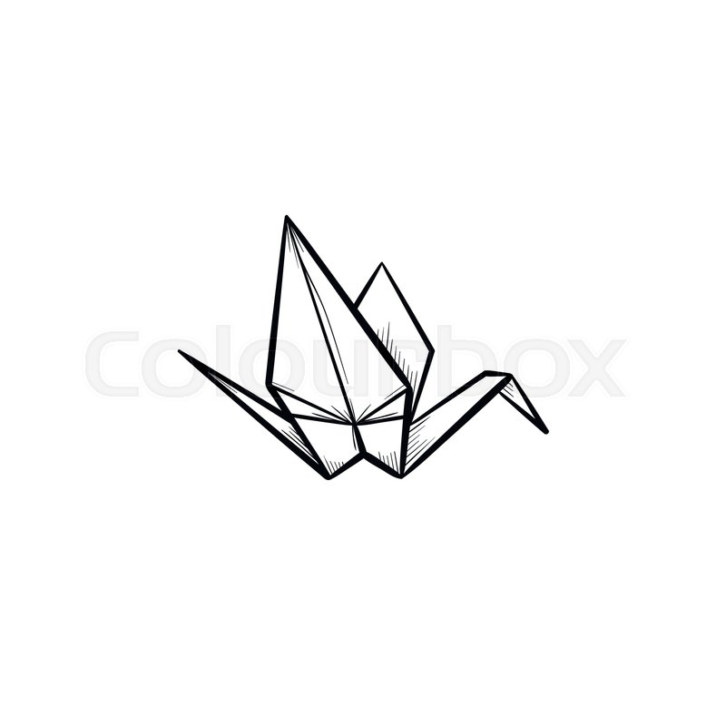 800x800 Origami Crane Hand Drawn Outline Doodle Icon. Crane Origami Vector