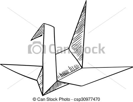 450x345 Origami Crane Paper Bird Sketch Icon. Origami Paper Model Of A
