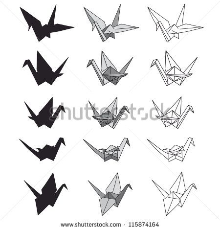 450x470 Set Of Paper Cranes On White. Origami In Vector