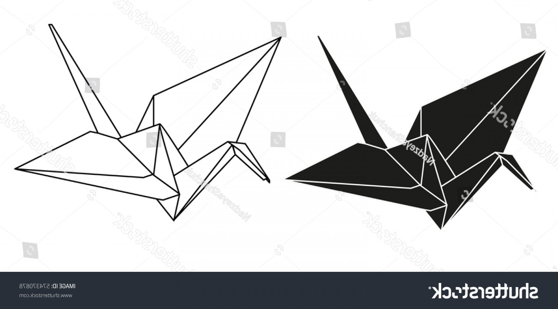 1800x997 Vector Isolated Silhouette Origami Crane Lazttweet