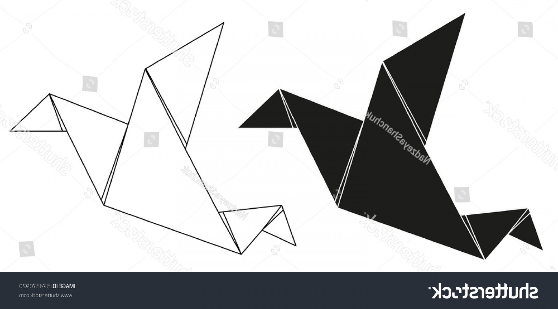 1800x997 Vector Isolated Silhouette Origami Crane Contours Lazttweet