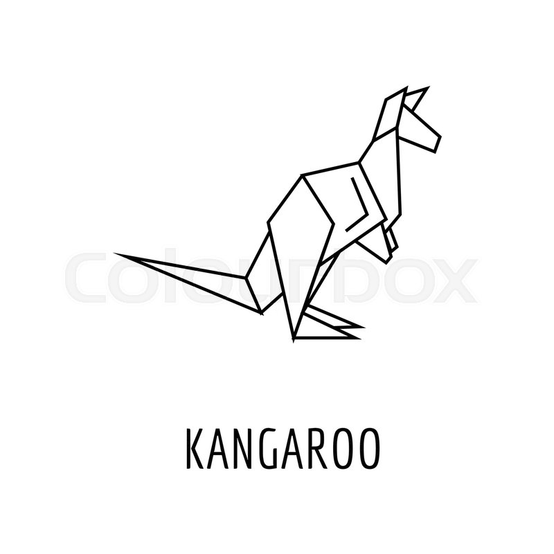 800x800 Origami Kangaroo Icon. Outline Kangaroo Origami Vector Icon For