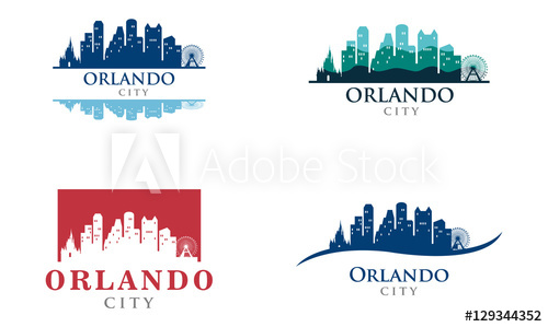 500x299 Orlando City Skyline Landscape Logo Illustration
