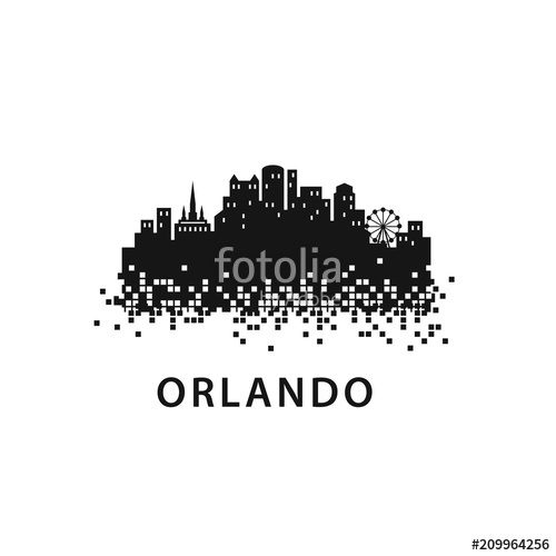 500x500 Orlando City Skyline Landscape Logo Template Stock Image And