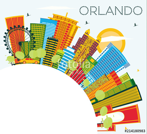 500x457 Orlando Florida City Skyline With Color Buildings, Blue Sky And