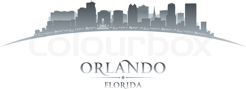 800x292 Orlando Florida City Skyline Silhouette. Vector Illustration
