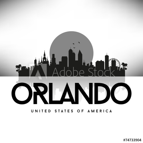 500x500 Orlando Usa Skyline Silhouette Black Vector