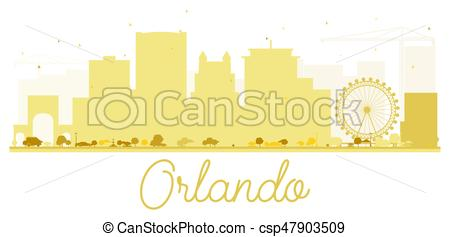 450x237 Orlando City Skyline Golden Silhouette. Vector Illustration