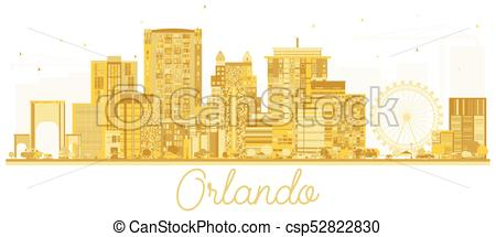 450x215 Orlando Usa City Skyline Golden Silhouette. Vector Illustration