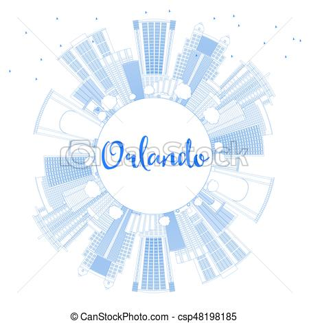 450x470 Outline Orlando Skyline With Blue Buildings And Copy Space. Vector