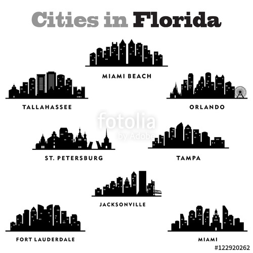 500x500 City Skyline Cityscape Of Cities In Florida State