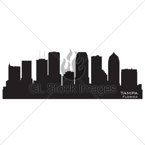 500x500 Tampa Florida City Skyline Vector Silhouette Gl Stock Images