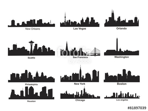 500x375 Us City Skyline Silhouette Stock Image And Royalty Free Vector