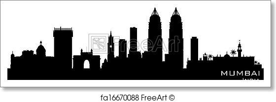 560x208 Free Art Print Of Mumbai India City Skyline Vector Silhouette