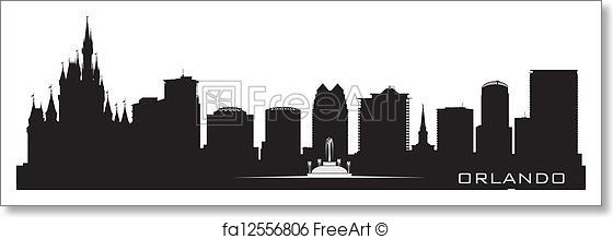 560x219 Free Art Print Of Orlando, Florida Skyline. Detailed City